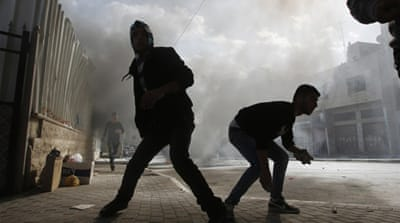 Palestinians protest in West Bank town