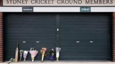 Tributes to Hughes seen outside the main gates to the Sydney Cricket Ground [Reuters]