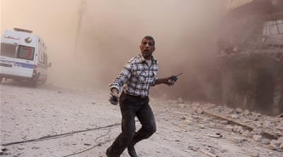 The attack hit the Muwasalat district of Shaar neighbourhood in the rebel-held east of Aleppo [Reuters]