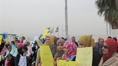 Women demonstrate for their children's rights regardless of their fathers' nationality [Areej Abuqudairi/Al Jazeera]