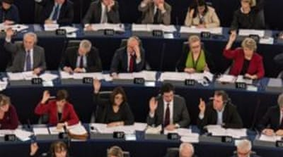 The European Parliament urged the commission 'to propose a communication strategy to counter the Russian propaganda campaign', writes Keulen [EPA]