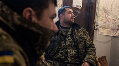 The last checkpoint before entering Luhansk People's Republic-controlled territory [Louis Dowse/Al Jazeera]