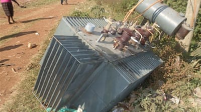A vandalised transformer lies on the ground in Thika town near the capital Nairobi [Kenya Power Ltd]