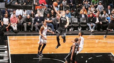 Mason Plumlee of the Brooklyn Nets shoots against the Oklahoma City Thunder [AFP]