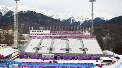 The grandstand at the Aerials, Half-Pipe and Moguls venue stands empty at Sochi [Getty Images]