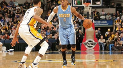 Randy Foye of the Nuggets dribbles against the Indiana Pacers [AFP]