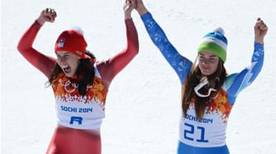 Alpine skiers have shared medals before at the Olympics but never for gold until Tina Maze and Dominique Gisin [AFP]