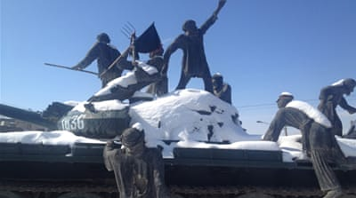 A roundabout in the centre of Herat city commemorates the five-day uprising of 1979 [Ali Latifi/Al Jazeera]