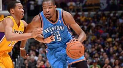 Kevin Durant was in superb form for the Thunder scoring 19 of his 43 points in the fourth quarter [AFP]