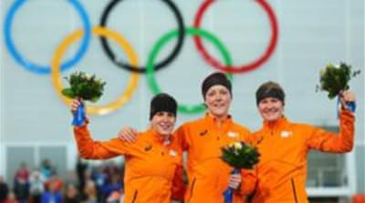 Dutch women swept the podium in the 1,500m speedskating [Getty Images]