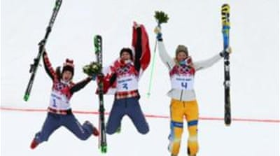 Marielle Thompson, Kelsey Serwa (both Canada) and Sweden's Anna Holmlund completed the podium [GALLO/GETTY]