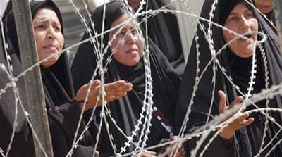 Women protest outside Abu Gharib prison over the treatment of their relatives while detained [Reuters]