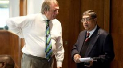 India's N Srinivasan chats to Giles Clarke during the ICC Board Meeting in London [Getty Images]