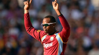 Samuels helped ram home West Indies' dominance with 2-21 off his four overs of off-spin [AFP]