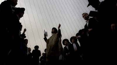 Hundreds of thousands of ultra-Orthodox Israelis protested forced conscription in Jerusalem in March [AP]