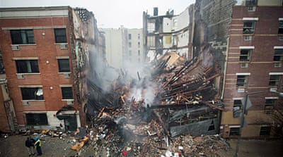 New York buildings explode and collapse