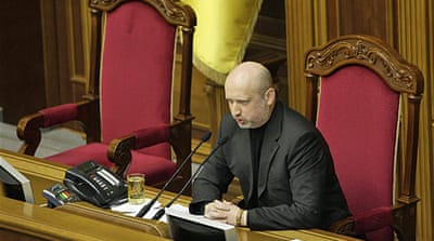 Turchinov warned of a risk of a Russian invasion of the east if Moscow occupies the Crimean peninsula [Reuters]