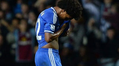 Premier League leaders Chelsea see their lead over Manchester City cut down to six points [AFP]