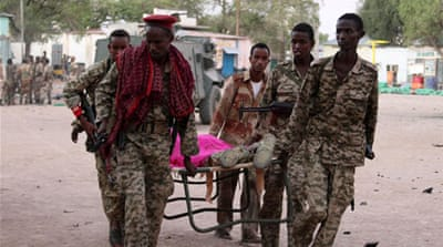 Al-Shabab attacked a hotel crowded with army officers in a southern town [AFP]
