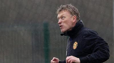 Moyes trains with players including Rio Ferdinand and Wayne Rooney in Manchester before Wednesday's tie [AP]