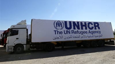 The convoy contains food supplies, blankets and mattresses, hygiene kits and medical supplies [Reuters]