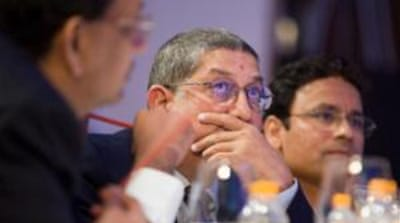 BCCI chief N Srinivasan (centre) has a lot of thinking to do over the next two days [GALLO/GETTY]