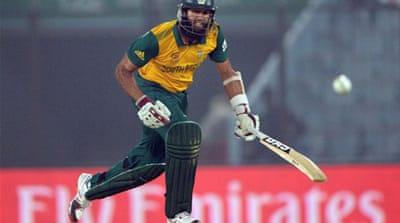 South Africa's Hashim Amla (56) dominated a 90-run opening partnership with Quinton de Kock (29)  [AFP]