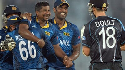 Herath took four wickets in his first three overs to leave the Kiwis reeling at 29 for five in the eighth over [AFP]