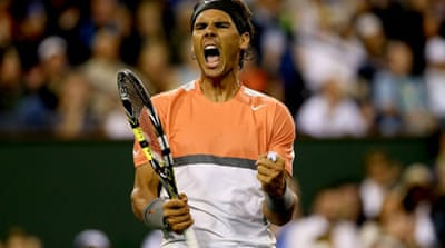 Nadal served eight double faults and was broken three times, but he broke his Czech opponent three times [AFP]