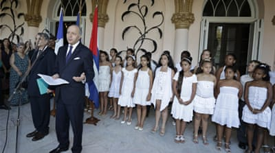 Laurent Fabius met with Raul Castro and with his counterpart Bruno Rodriguez [Reuters]
