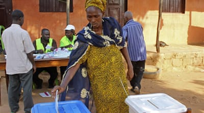 Almost three-quarters of Guinea-Bissau's eligible voters participated in the first round of the election [AP]