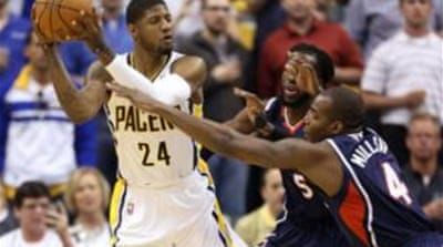 Paul George's (24) 27 points were key in the Pacers' win in the second game [Reuters]