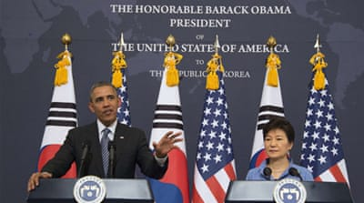 Obama pledges firm response to N Korea