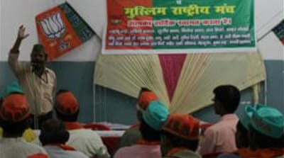 A group of locals gather at a hall in a Shia area of Lucknow to show support for the BJP [Sonia Paul/ Al Jazeera]