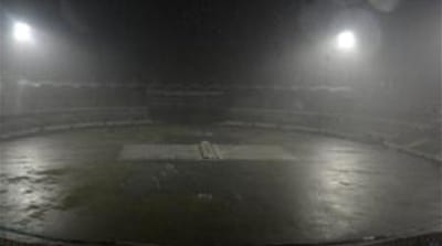 Hailstorm in Mirpur cut short West Indies' chase and their stay in the tournament [AFP]