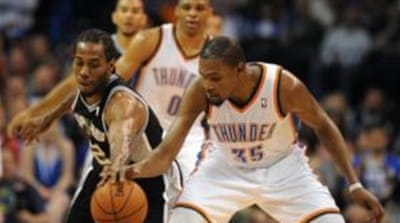 Kevin Durant (35) helped the Thunder to a 4-0 season sweep over San Antonio [Reuters]