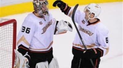 Anaheim Ducks's 20-year-old goal-tender John Gibson (36) recorded 18 saves [Reuters]