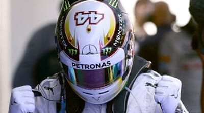 Hamilton pulled out a brilliant lap in the final seconds to take a fourth pole in five races [AFP]