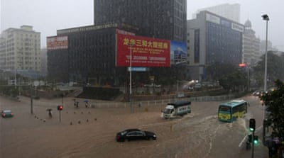 Shenzhen, Guangdong province where storms flooded several districts and submerged over 2,000 vehicles. [AFP]
