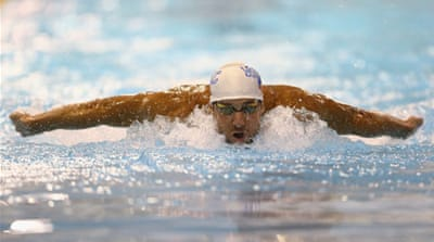Phelps matched his time exactly from Arizona, his first meet since retiring after the London Olympics [AFP]