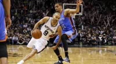 Tony Parker 's (9) 22 points helped the Spurs double their lead over the Thunder [Reuters]