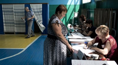 Pro-Russian separatists have questioned the legality of Sunday's election [John Wendle/Al Jazeera]