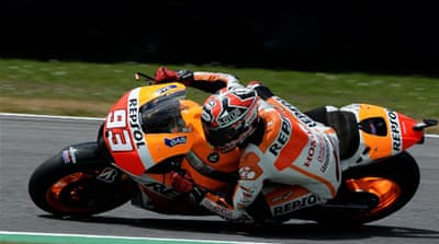 Marquez produced a lap of one minute 47.27 seconds early in the second qualifying session [AFP]