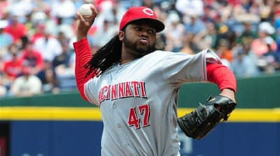 Cueto (3-2) gave up just three hits and one walk while striking out 10 batters over eight innings [AFP]
