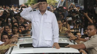 Prabowo Subianto has made big gains in opinion polls in recent months [AP]