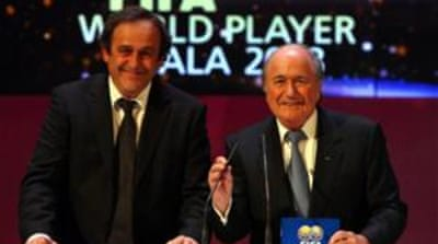 Platini's (L) decision means Blatter only has Jerome Champagne running against him [Getty Images]