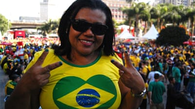 Brazilians celebrated their country's win over Croatia in the opening match [Jillian Kestler-D'Amours/Al Jazeera]