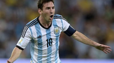 It was just the second World Cup goal for Messi, adding to one he scored eight years ago in Germany [AFP]
