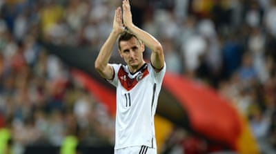 Germany striker Miroslav Klose is one strike away from equalling a tournament record of 15 goals [GALLO/GETTY]