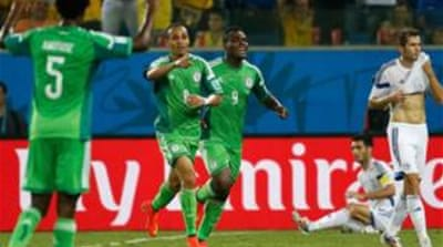 Peter Odemwingie (2nd L) scored a vital goal for Nigeria [Reuters]
